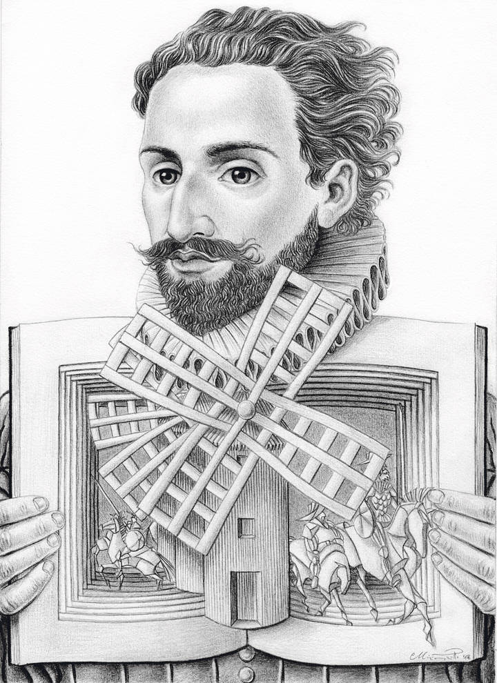 Miriam Tritto, Miguel de Cervantes graphite portrait