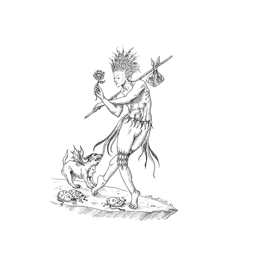 1000x1000 85 The Fool Tarot illustration by Miriam Tritto