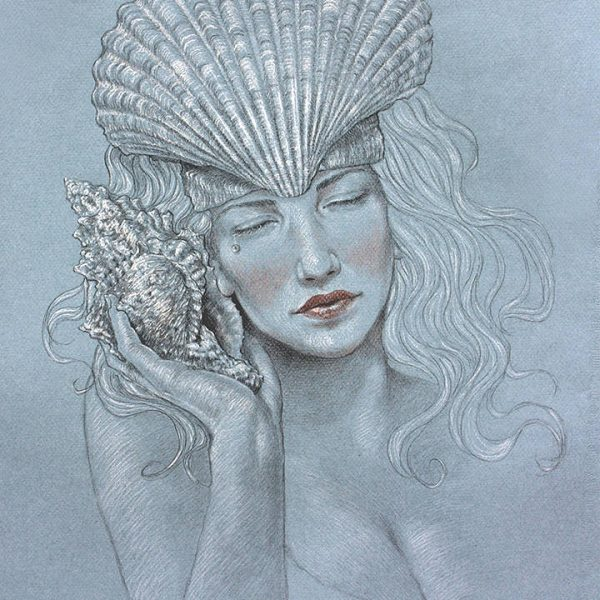 Miriam Tritto, Water (The recall) graphite and pastels drawing illustration