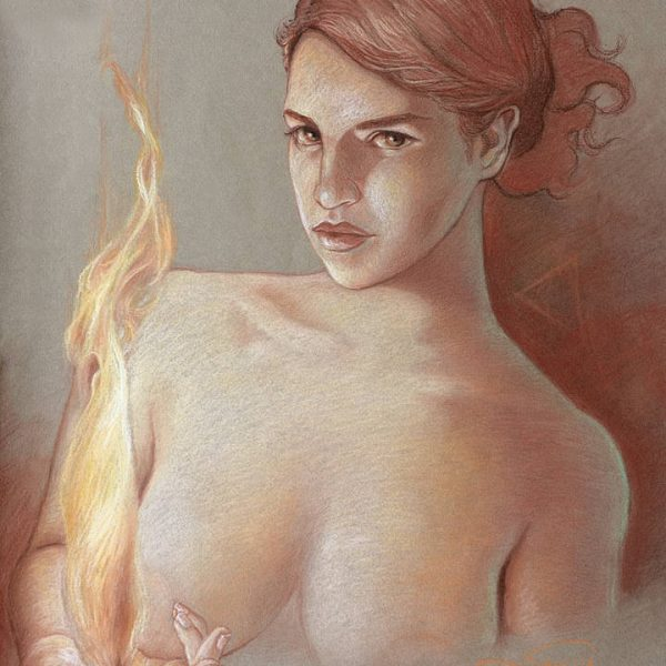 Miriam Tritto, Fire pastels drawing illustration