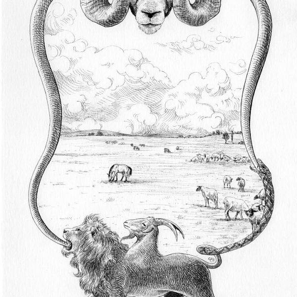 Miriam Tritto, Genesi 6 ink drawing illustration