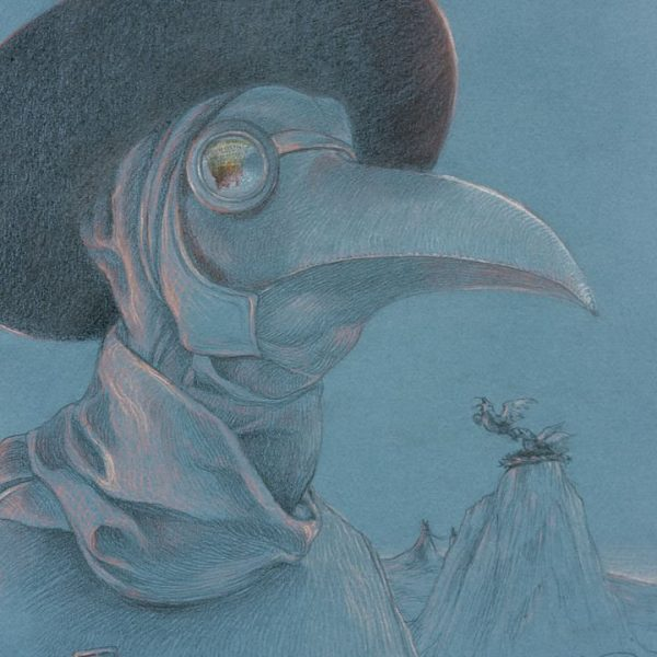 Miriam Tritto, Plague doctor pastels graphite drawing illustration