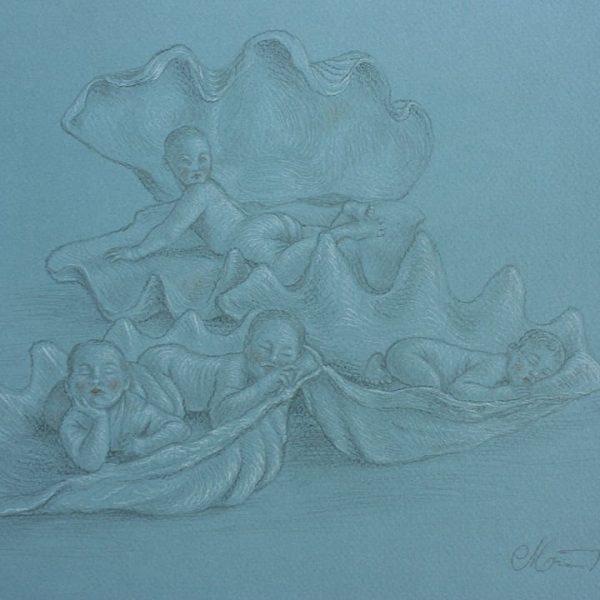 Miriam Tritto, San Brandano's infants graphite drawing illustration