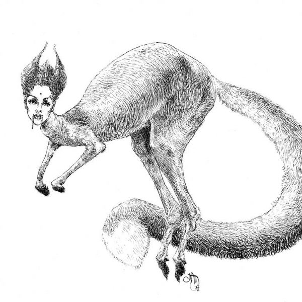 Miriam Tritto, Kafka's dream ink drawing illustration