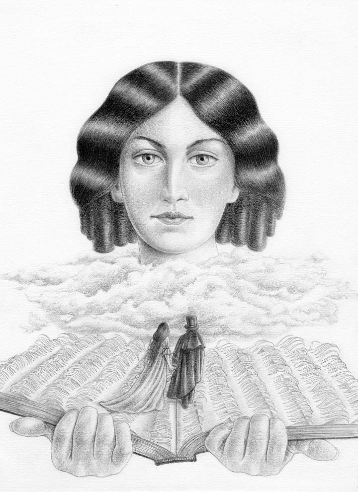 Miriam Tritto, Emily Bronte, graphite portrait