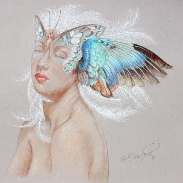 Miriam Tritto, Feathered pastels drawing illustration