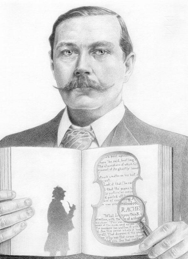 Arthur Conan Doyle graphite portrait